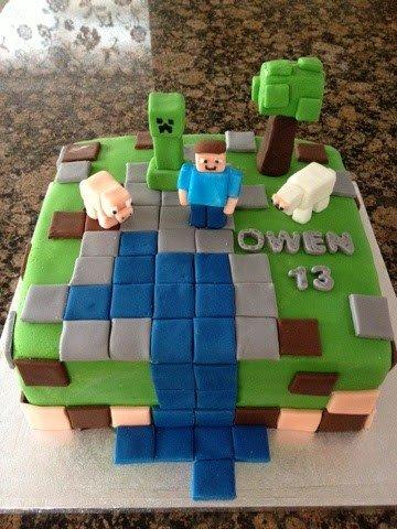 Minecraft cake for Owens 13th Birthday