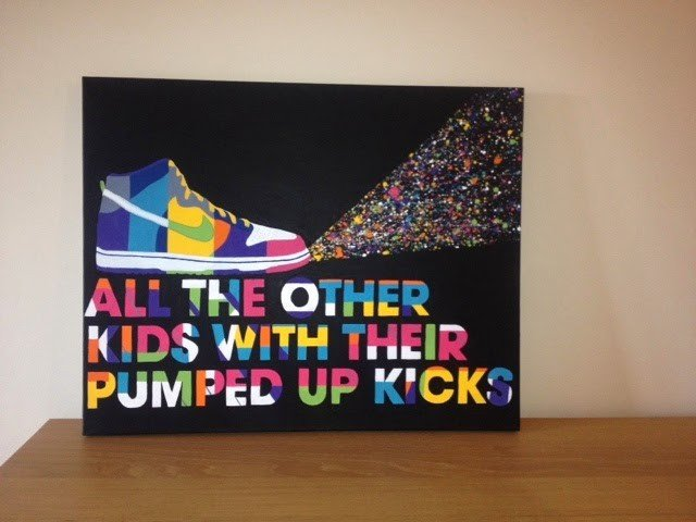 Trendy modern acrylic canvas graphic painting of a trainer boot with quote painted at Dean Smith art classes billericay