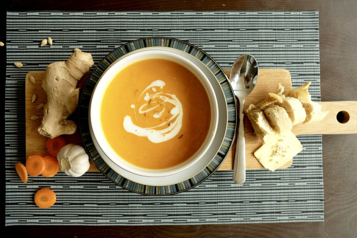 Heartwarming Butternut Squash Carrot and Ginger Soup.