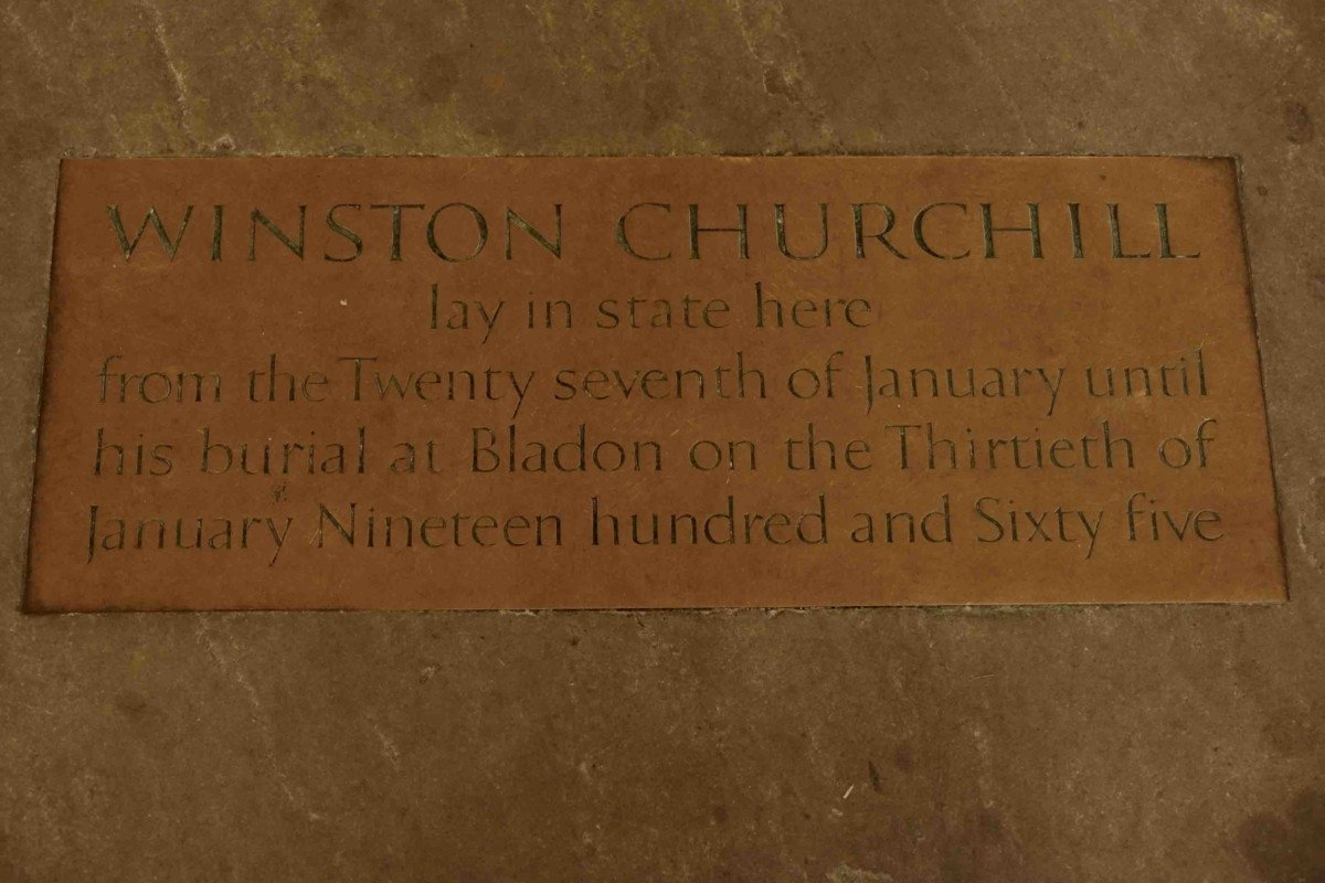 Sir Winsten Churchill lay in state plaque Westminster hall . Take an amazing tour of The Palace of westminster and parliament