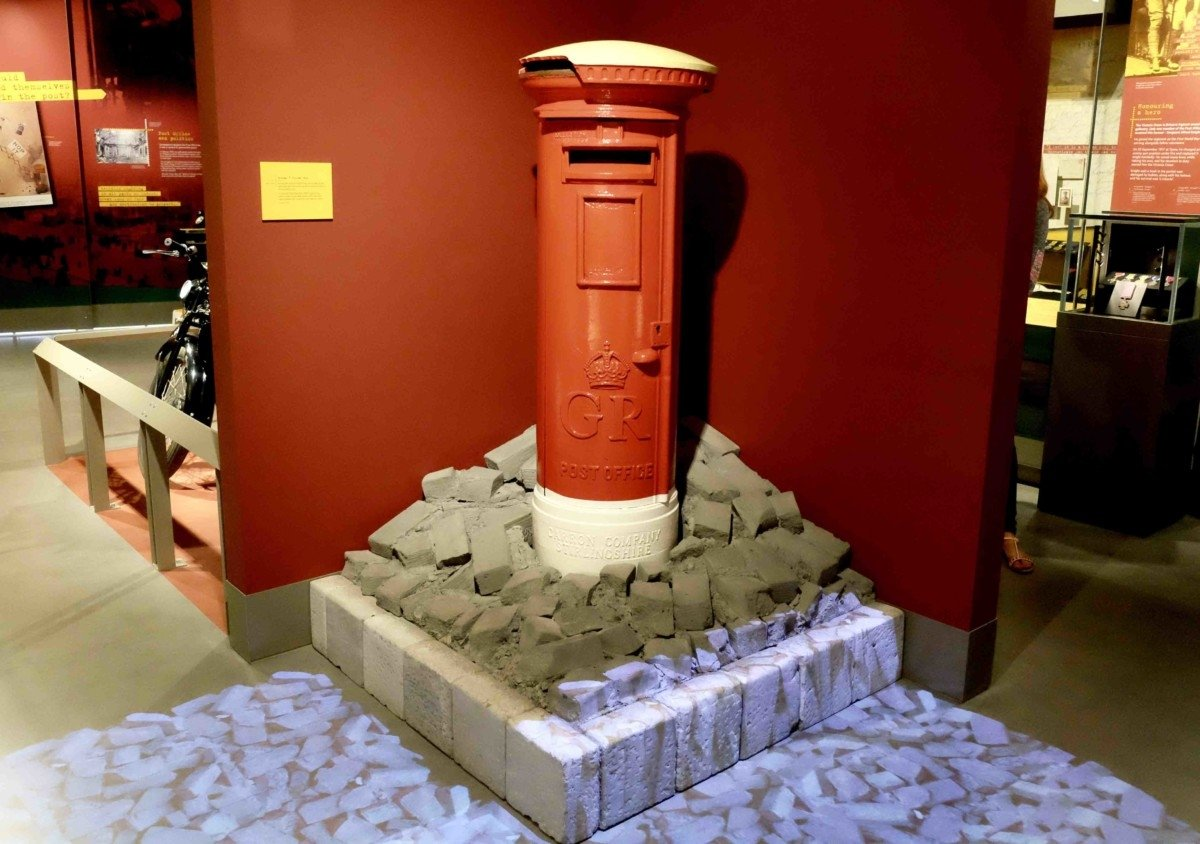 Royal Mail Red pillar box painted white as in the blitz The Mail Rail The Post Offices Railway and Museum