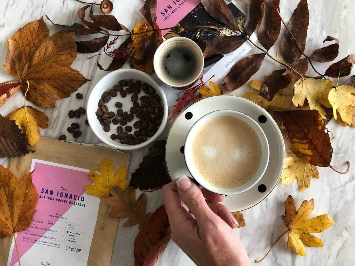 Blue Coffee Box flatlay photo autumn winter