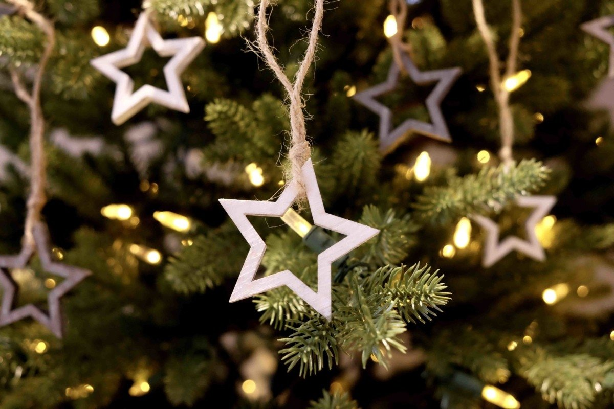 Cox and Cox contemporary Christmas dceorating stars on tree
