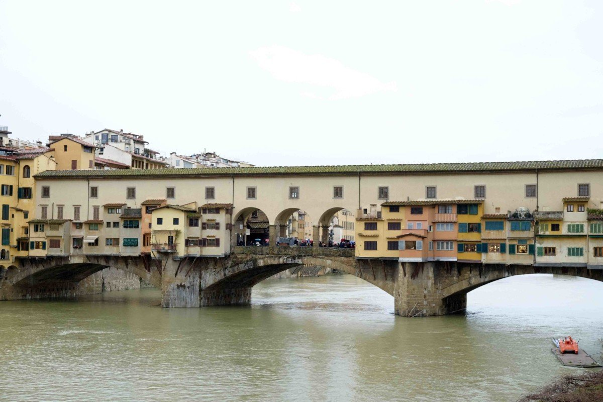 Ponte Vecchio is a medieval stone arch bridge