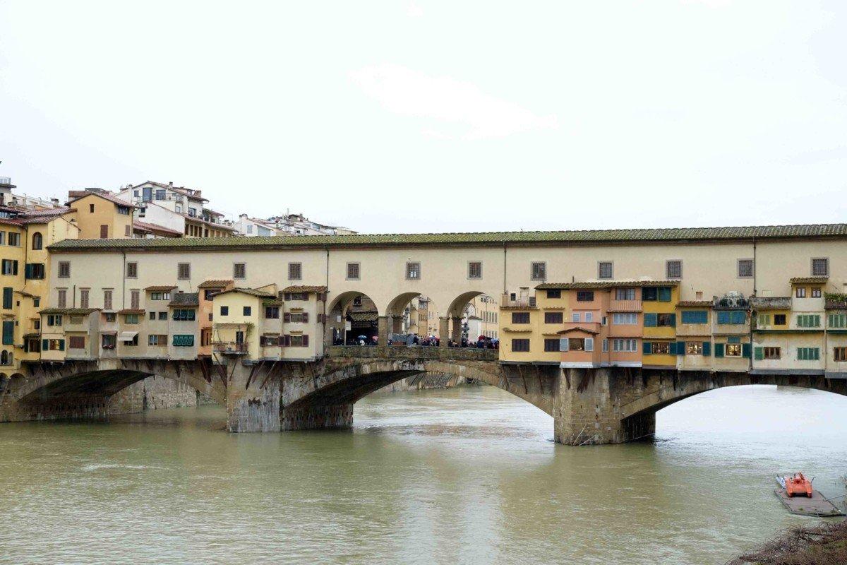 Ponte Vecchio is a medieval stone arch bridge