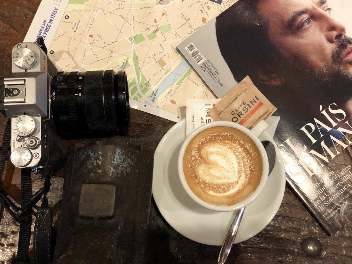 Coffee stop in Basilica di santo Spirito in the market