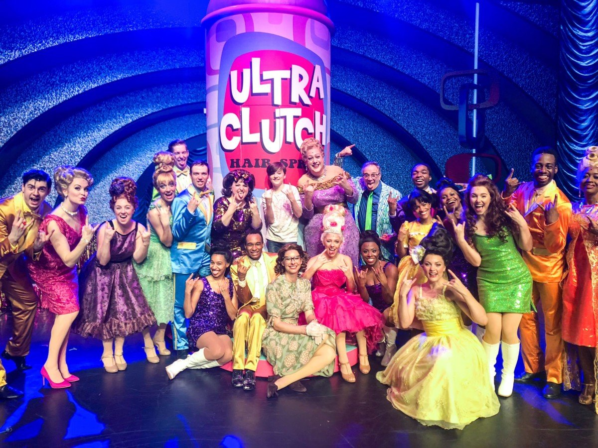 Harry Vallance with Hairspray the musical cast on Symphony of the Seas
