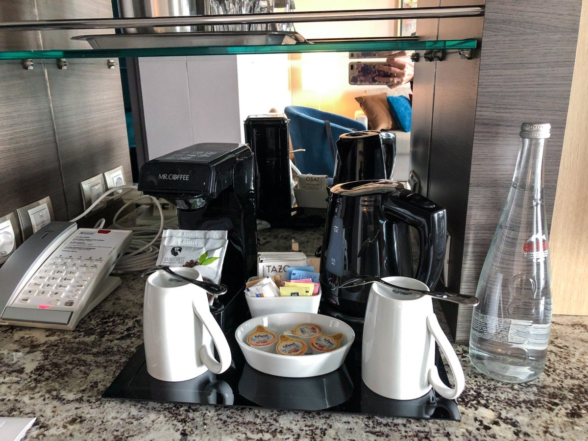 Symphony of the Seas Grand Suite kitchen area Tea and Coffee