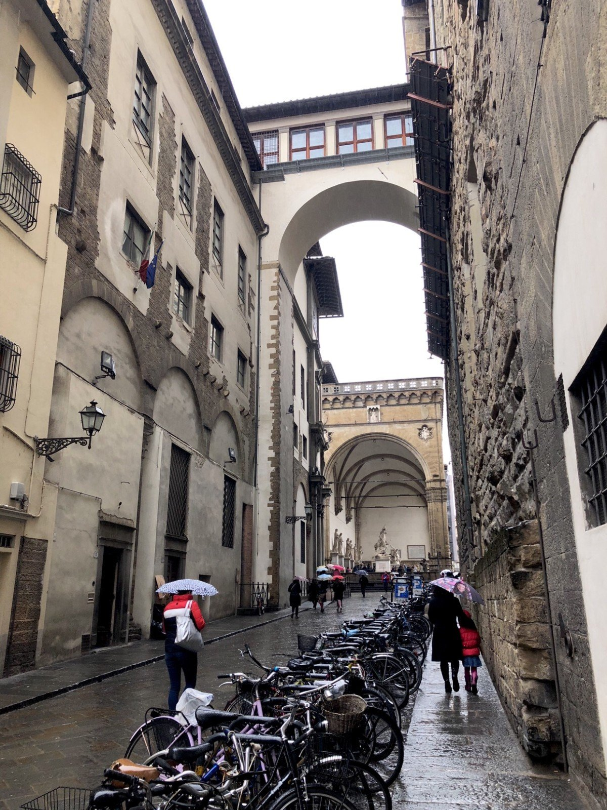 Part of the Vasari Corridor viewed from the street, Florence