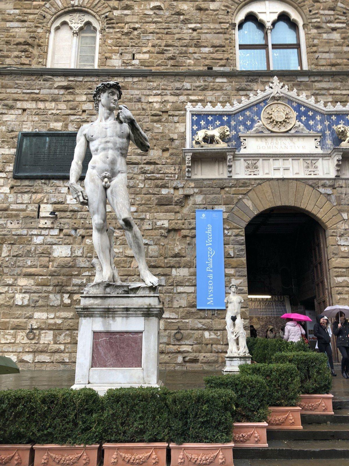 Piazza della Signoria with its copy of Michelangelo's David statue