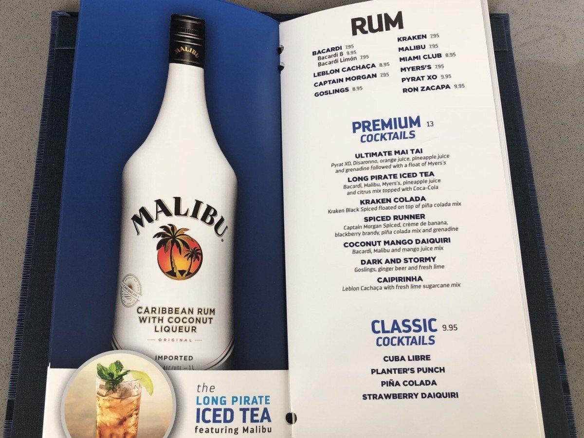 Bar Menu Symphony of the Seas Rum Cocktails