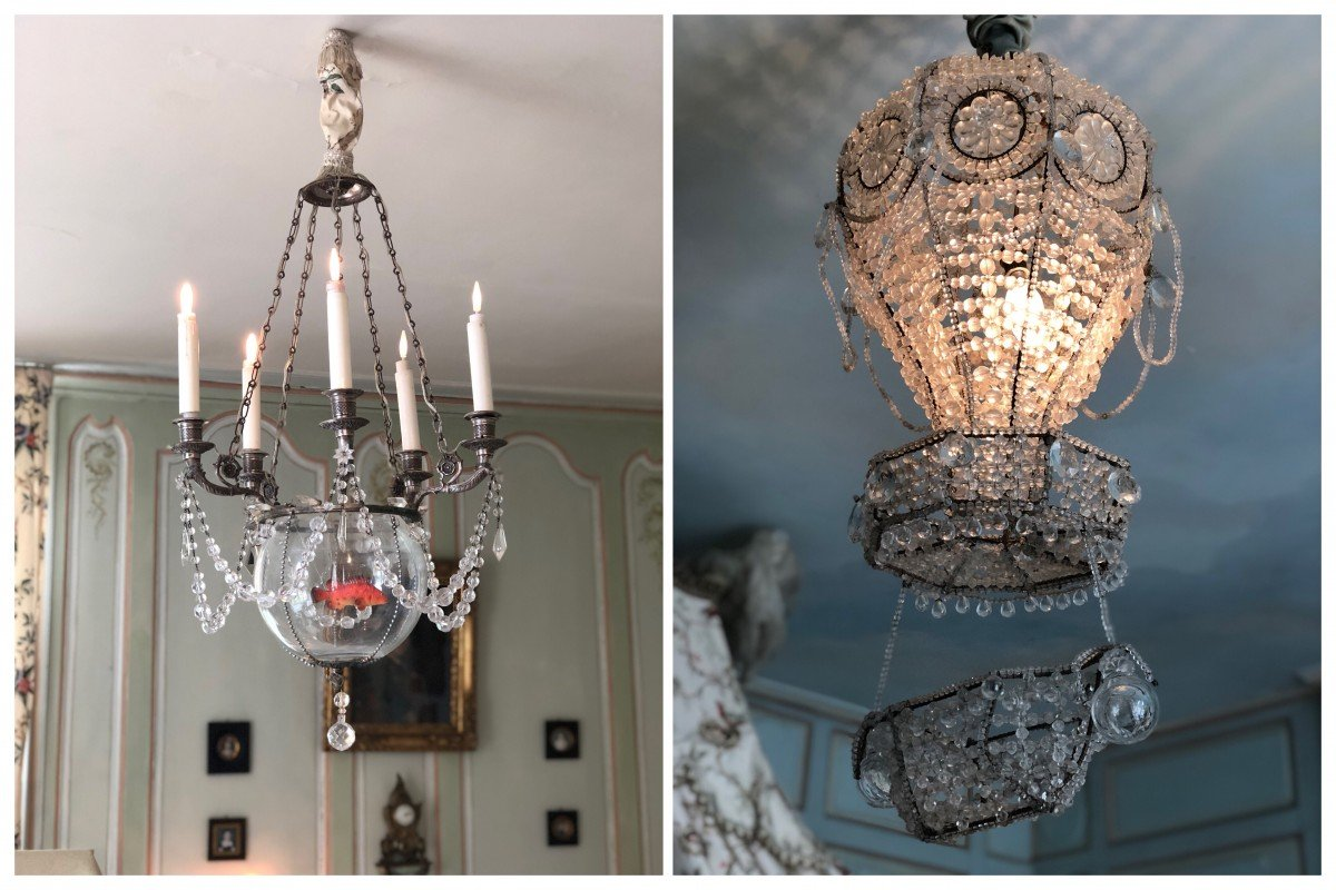 Chateau de Vendeuvre , stunning goldfish bowl and balloon chandeliers rococo