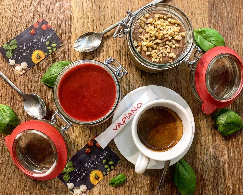 Vapiano Wardour street italian restaurant coffee and desserts flatlay photo
