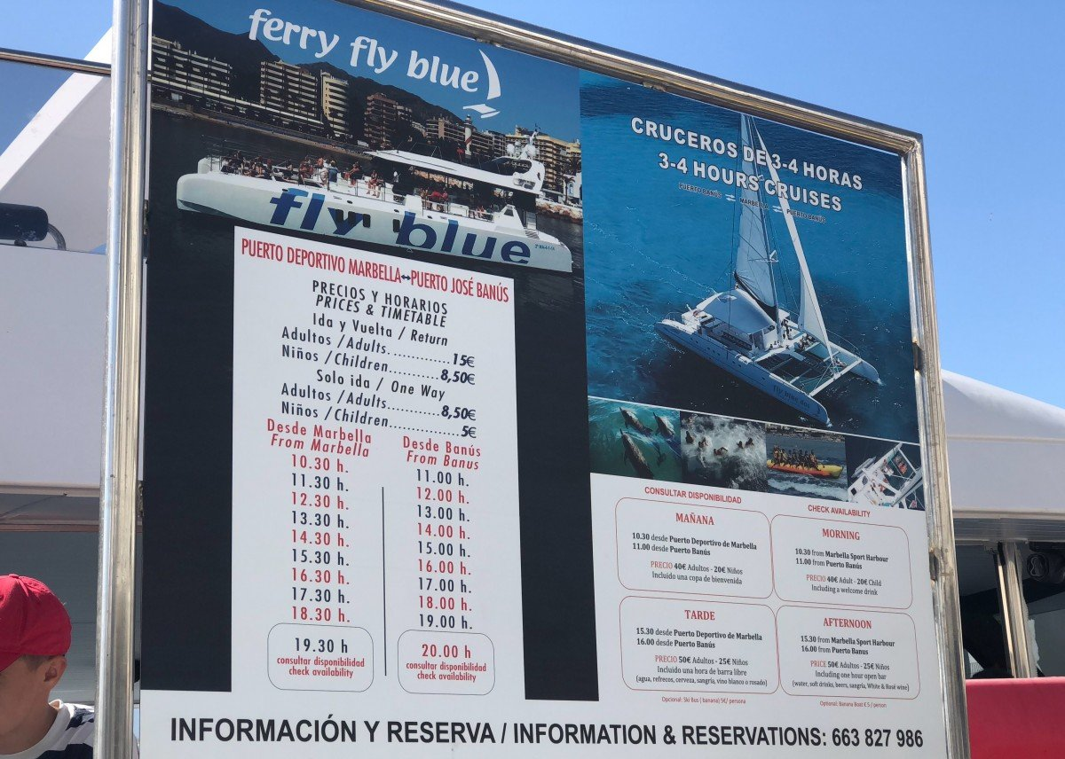 Puerto Banus to Marbella Boat Trip Fly Blue ferry timetable and prices