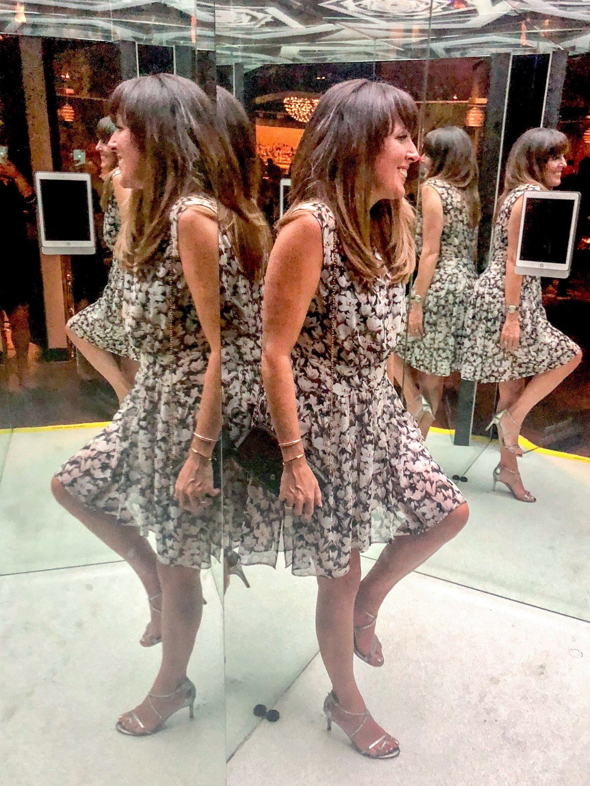 All Saints dress in mirrored room