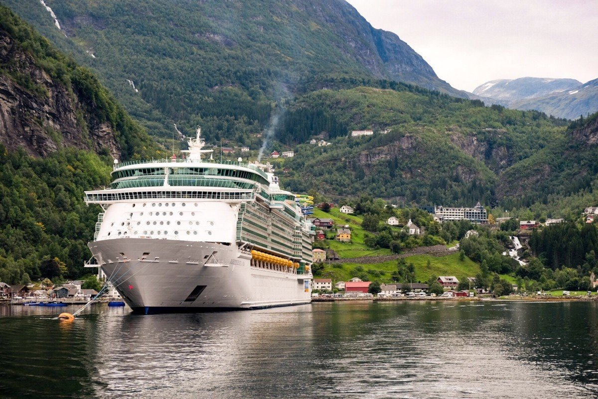The Independence of the Seas docked at the end of the Gerianger fjord