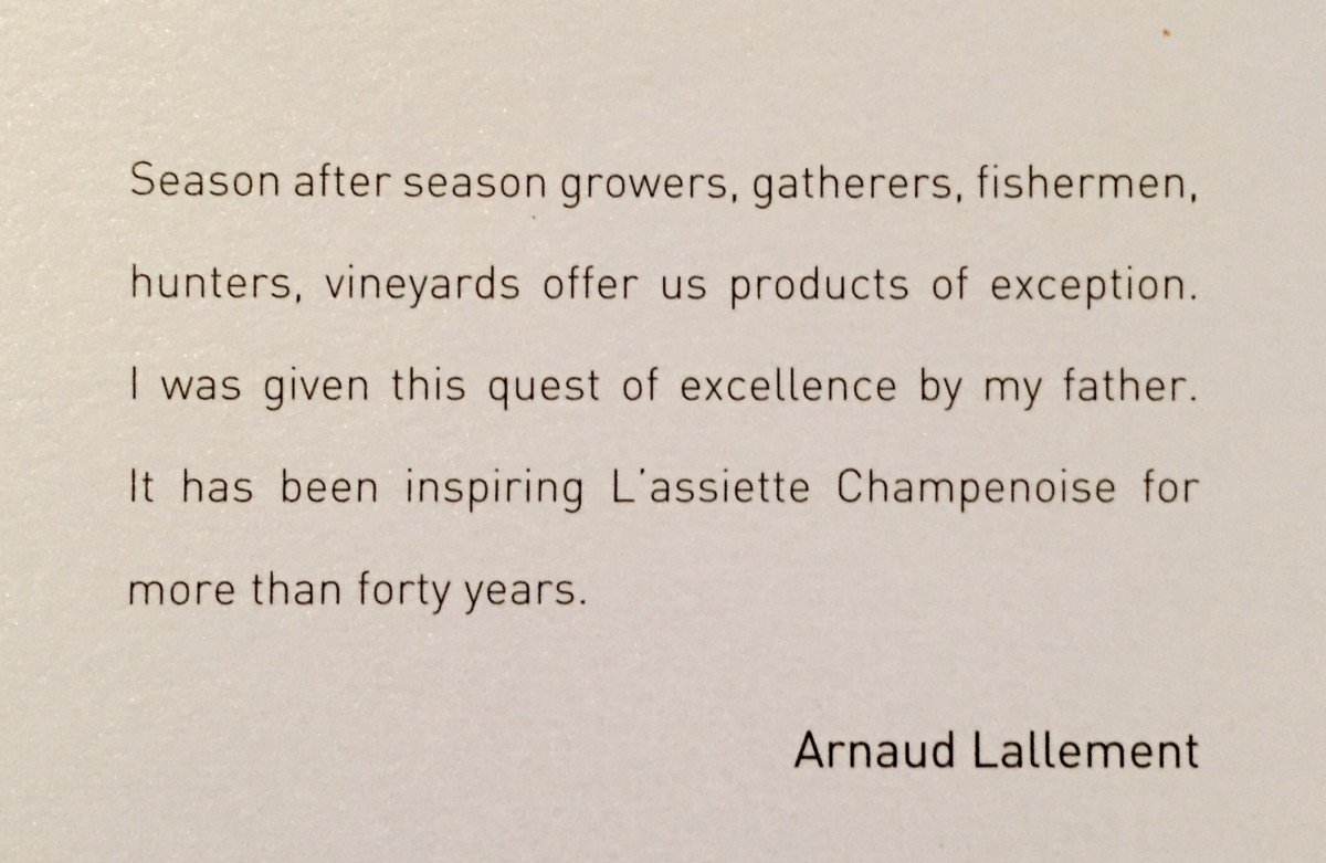 Arnold Lallement quote L'Assiette Champenoise