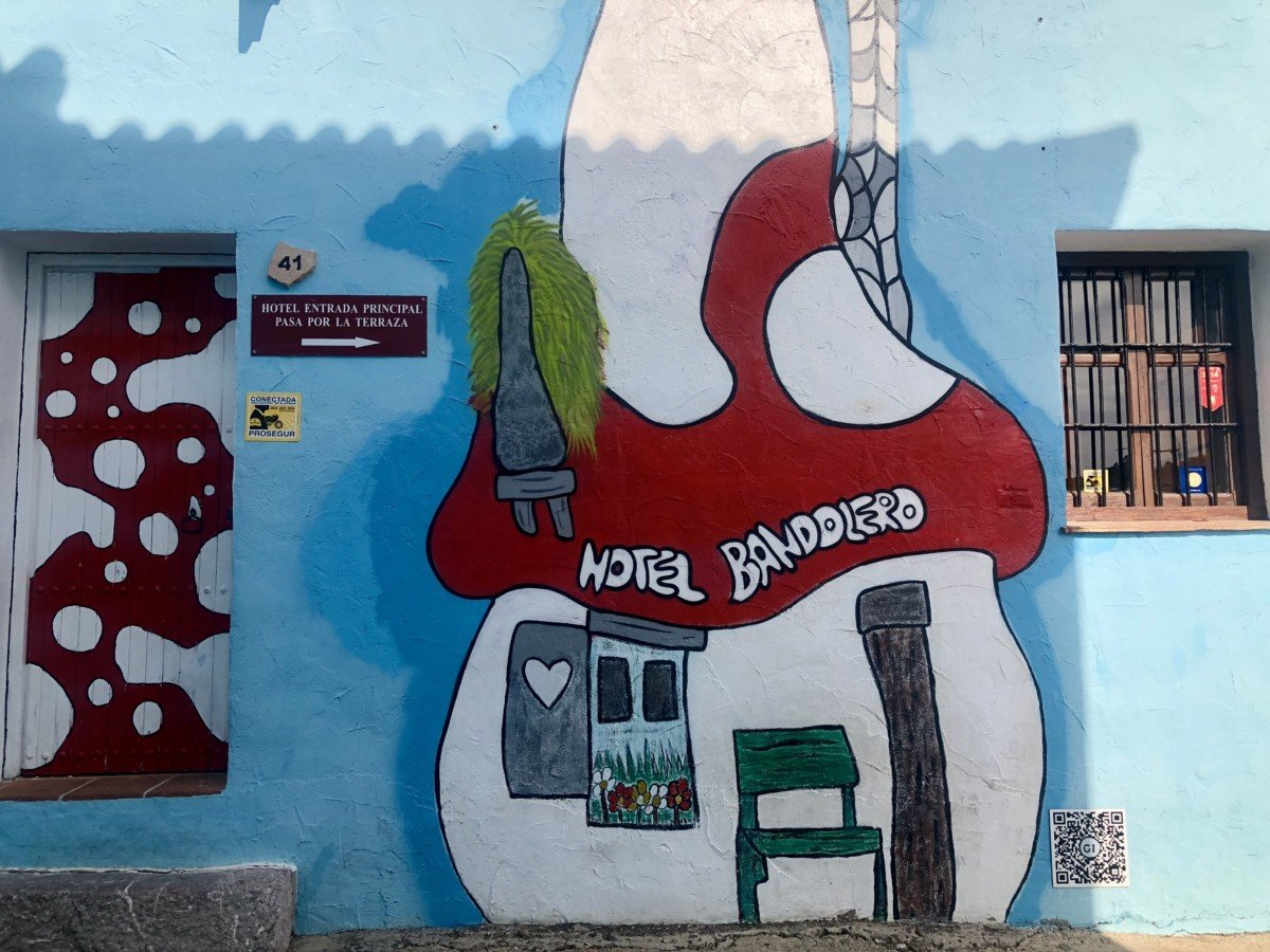 Júzcar the smurf village Graffiti on walls toadstool of Hotel Banddiero