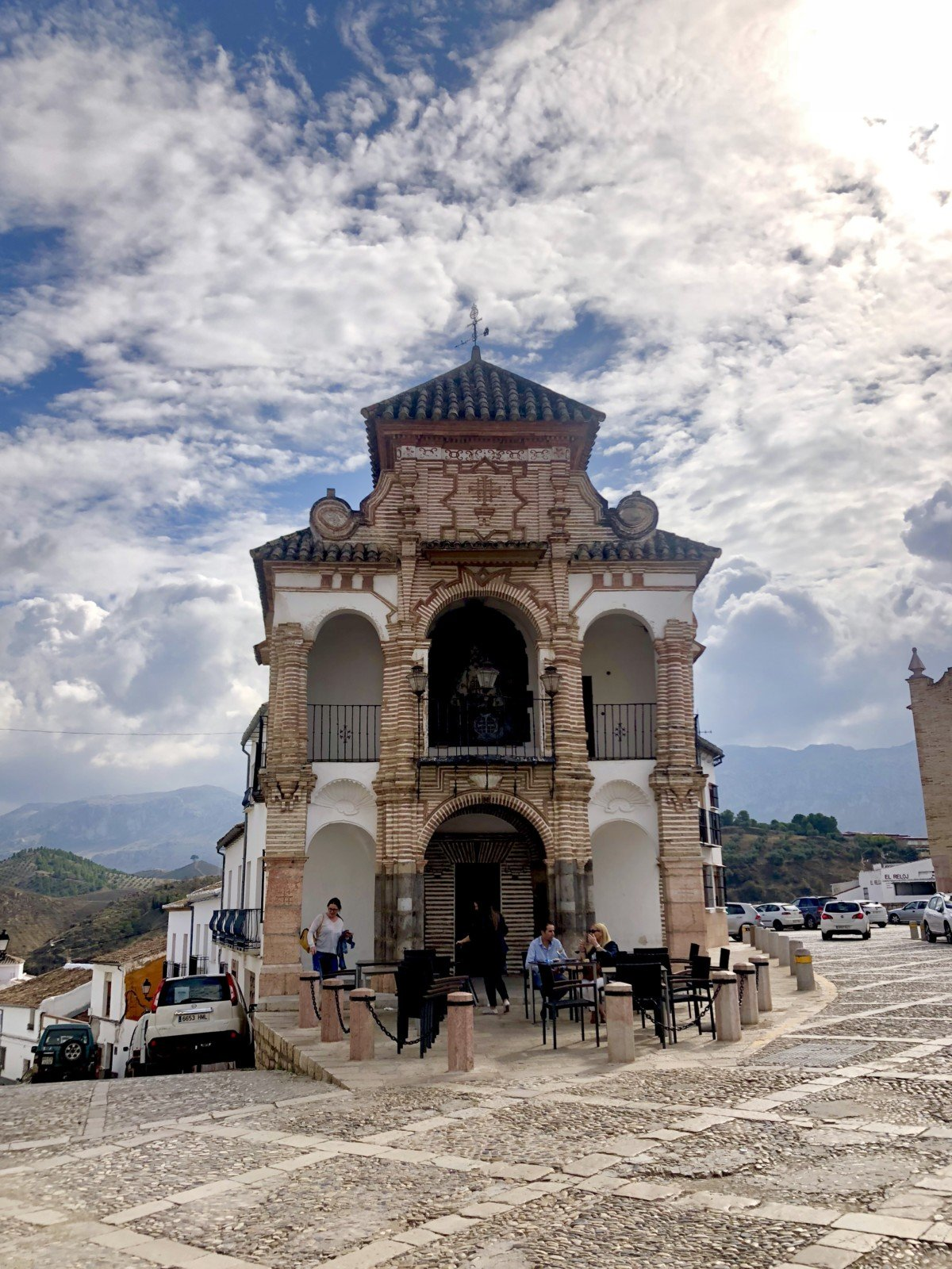 The Portichuelo chapel- virgin del sorocco sits majesty on the top of the town