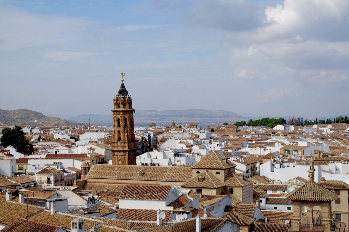 Day trip from Malaga The view from The Alcazaba of Antequera overlooking San Sebastian church.