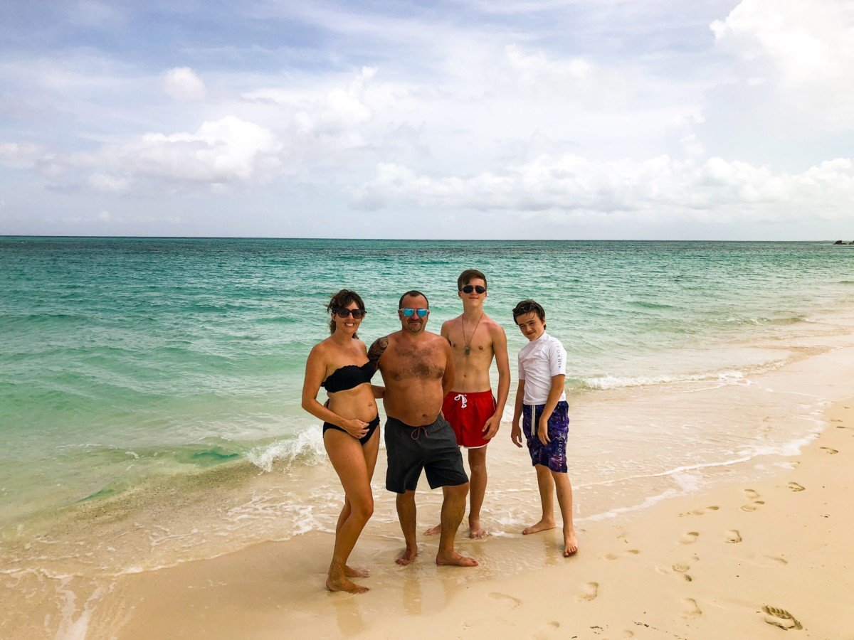Turks and Caicos Islands Shell beach family photo