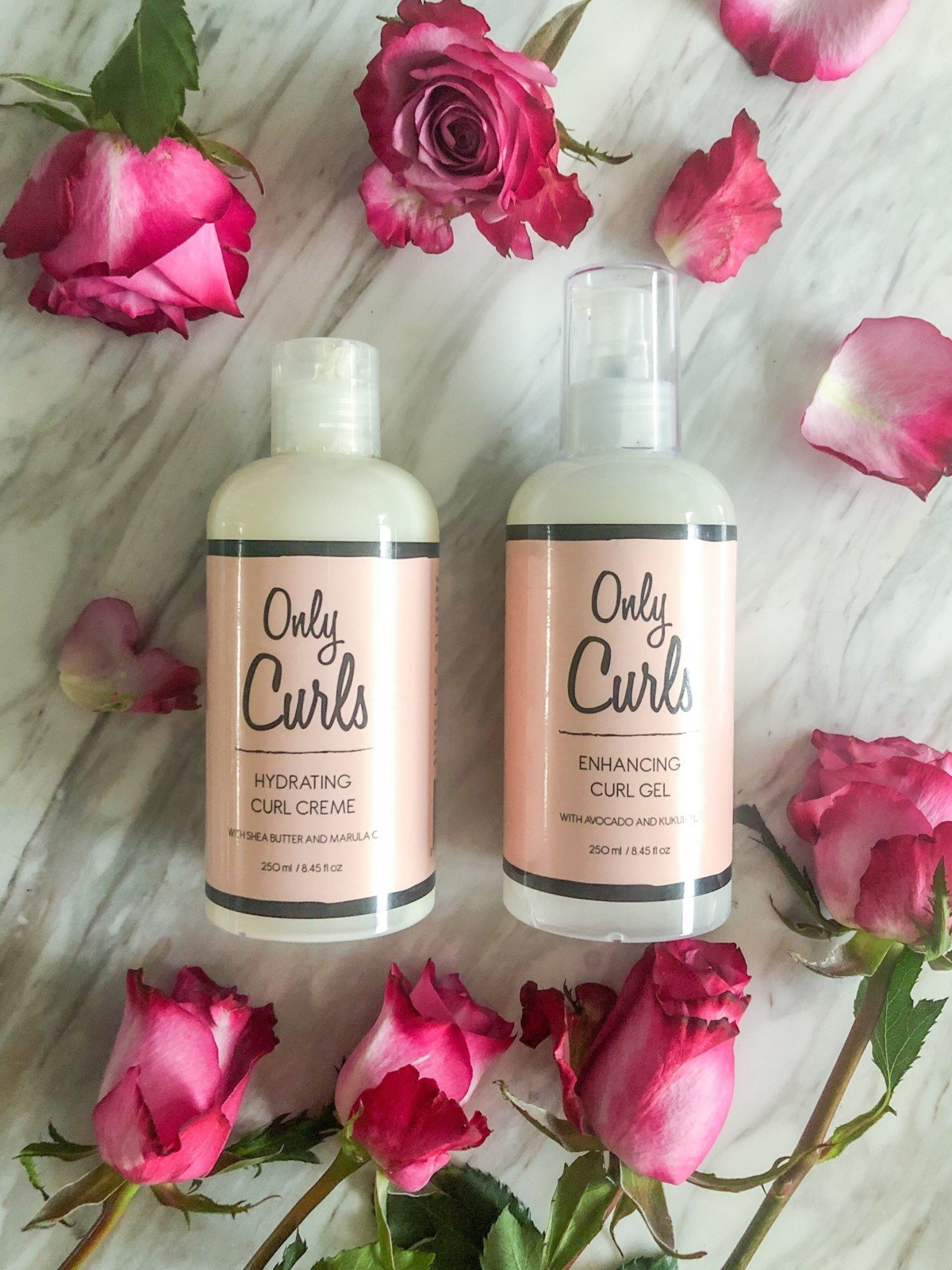 Vegan Only curls products with roses for the curly girl method