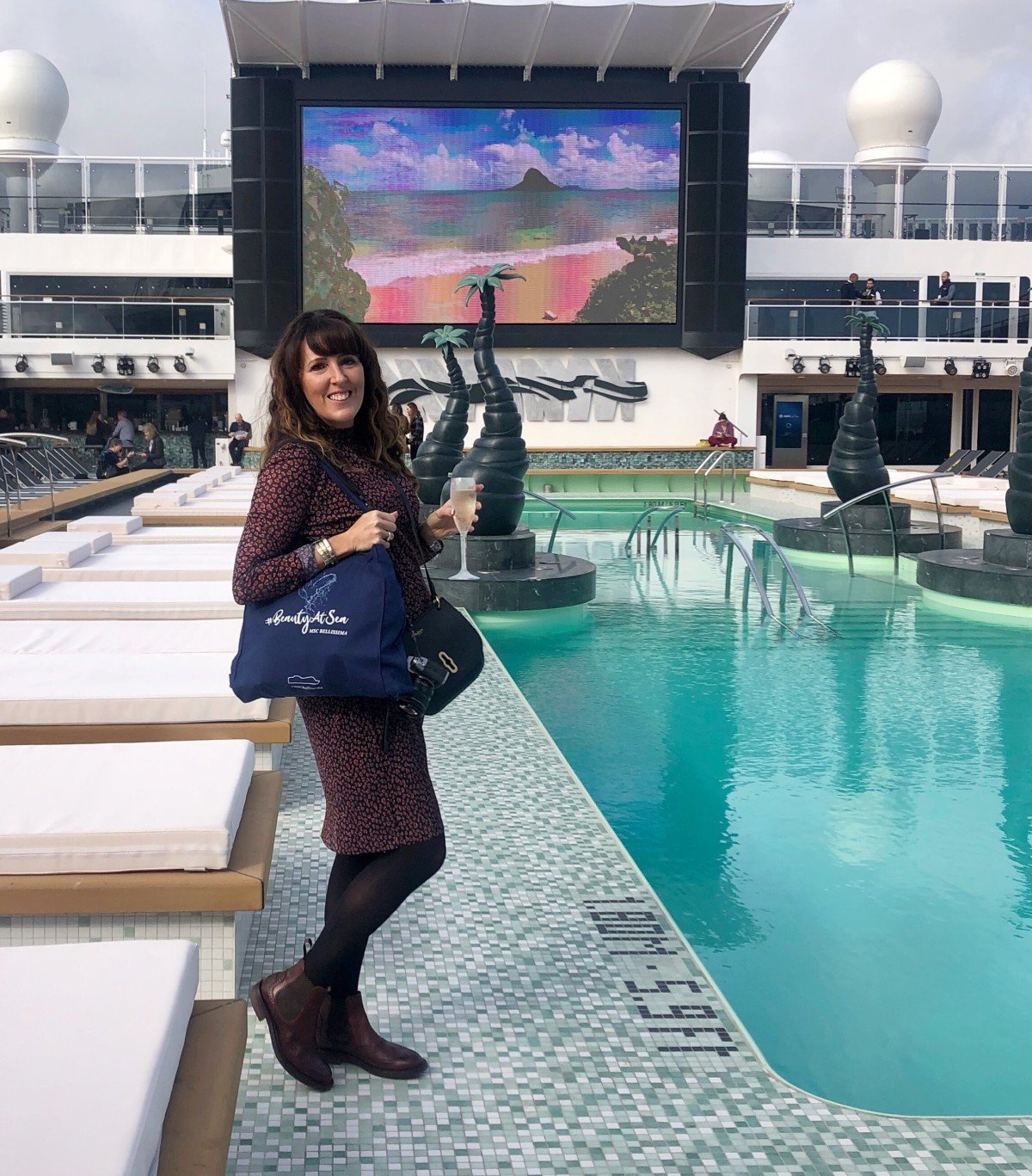 MSC Bellissima naming celebration onboard by the pool