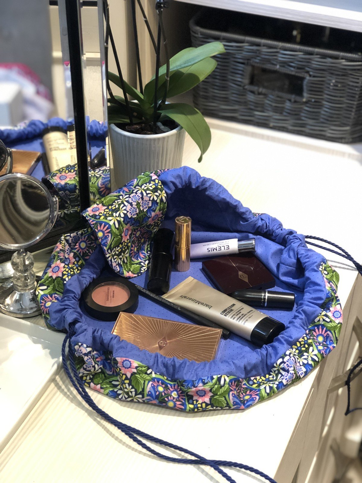 Dressing table, Stunning art deco mackintosh style fabric make up bag. This hand sewn make up bag can be made from ripstop materiel so it can be wiped clean or cotton to be washed. I chose the easier option but the brightest fabric I could find.