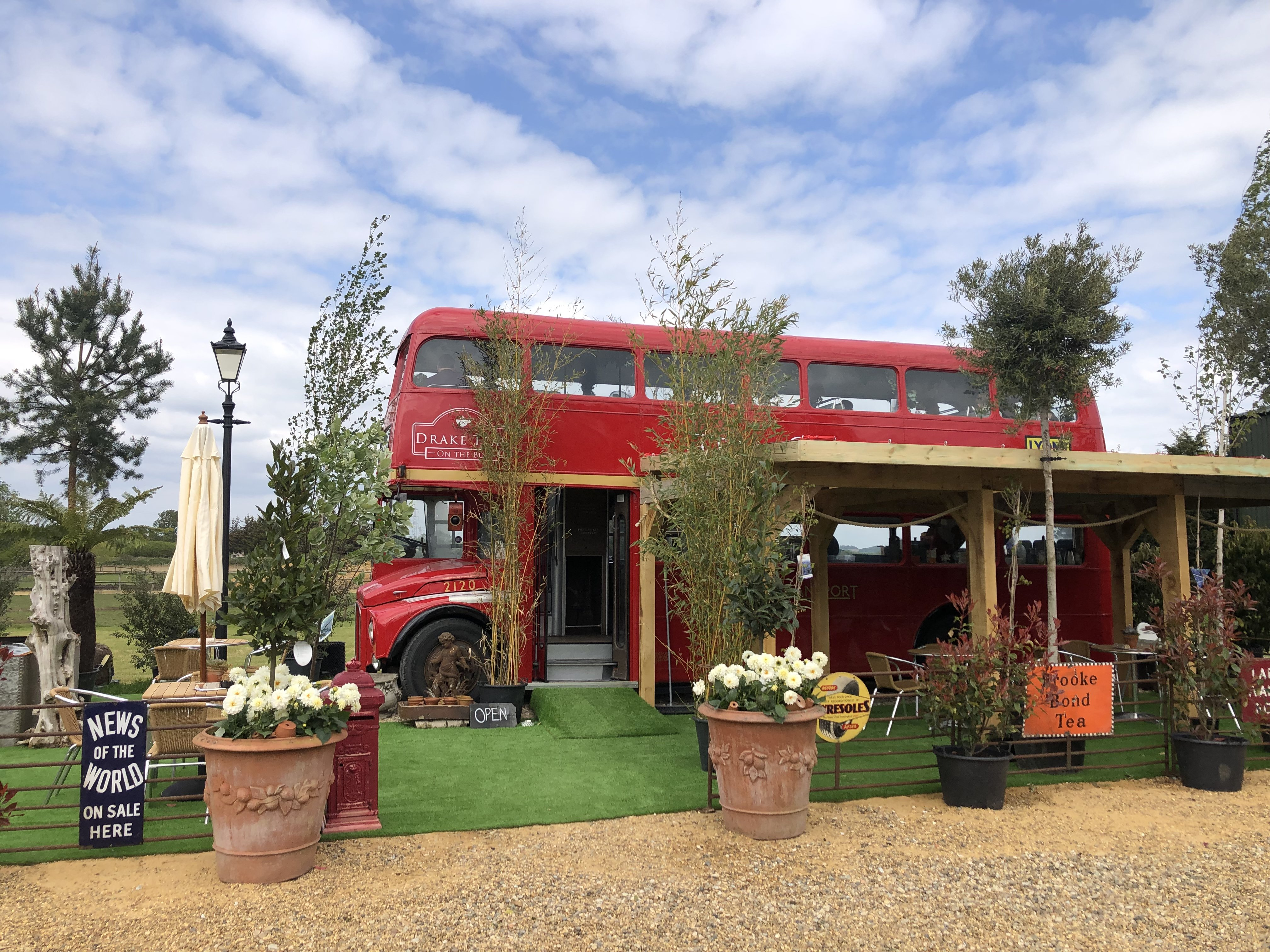 Drakes Teas on the Bus a London Bus Tea Room in Essex ,There is a perfect spot for a cup of tea and a slice of cake at Drakes Teas On The Bus in Battlesbridge Essex. Drakes Teas On The Bus is a quirky tea room all on a route master London transport bus.