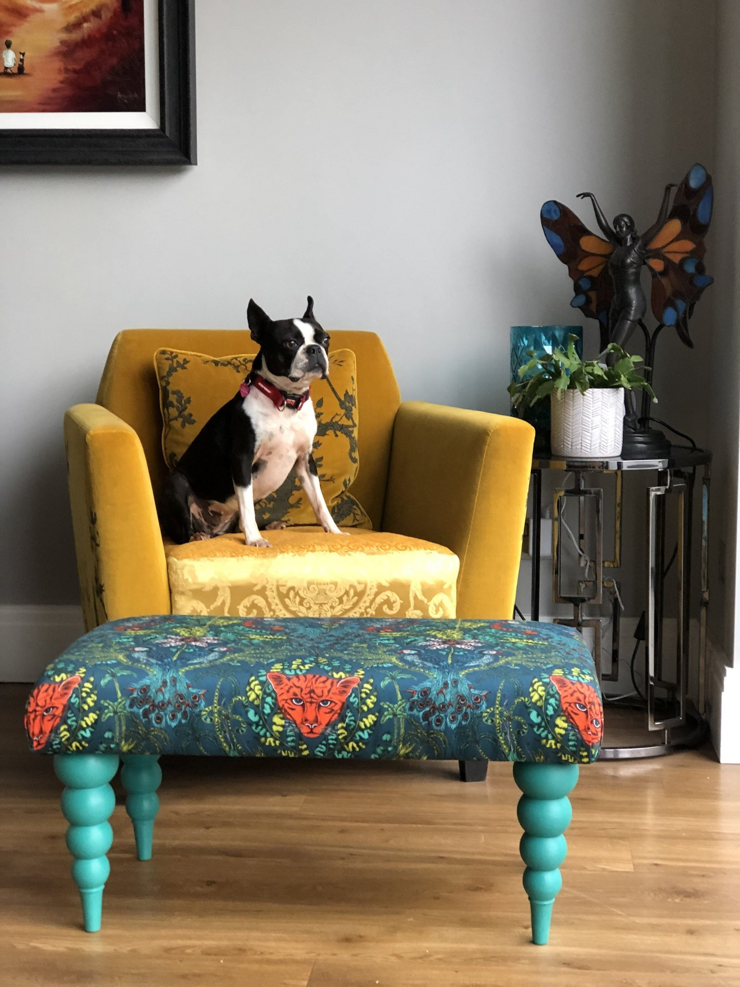 Making an upholstered footstool in Essex. the footstool is bang on trend and chic for todays interior design and a perfect project to ease you in to upholstery and interior design With Fabric from Emma Shipley.