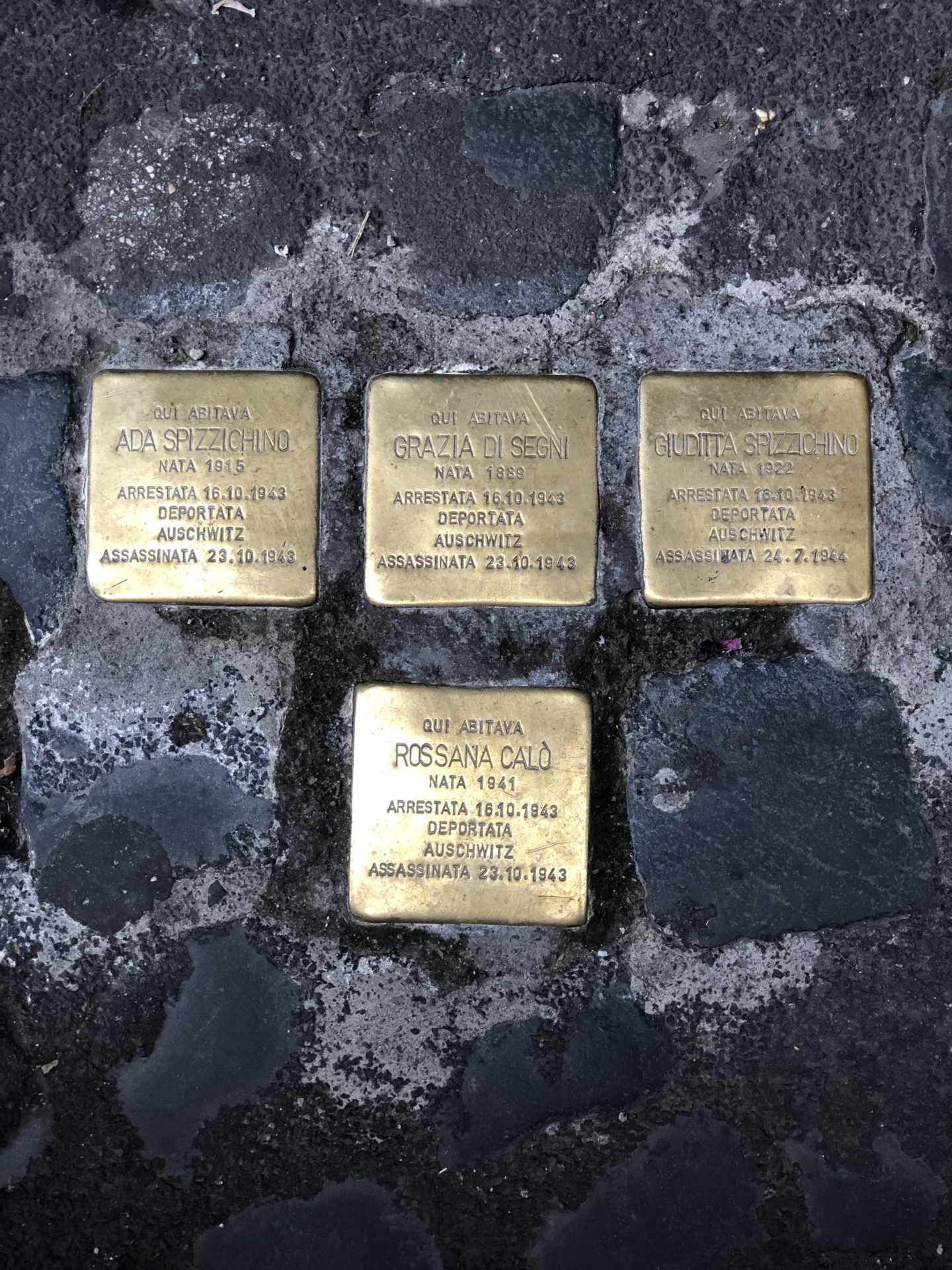 Stumbling stones in the Jewish Ghetto of Rome