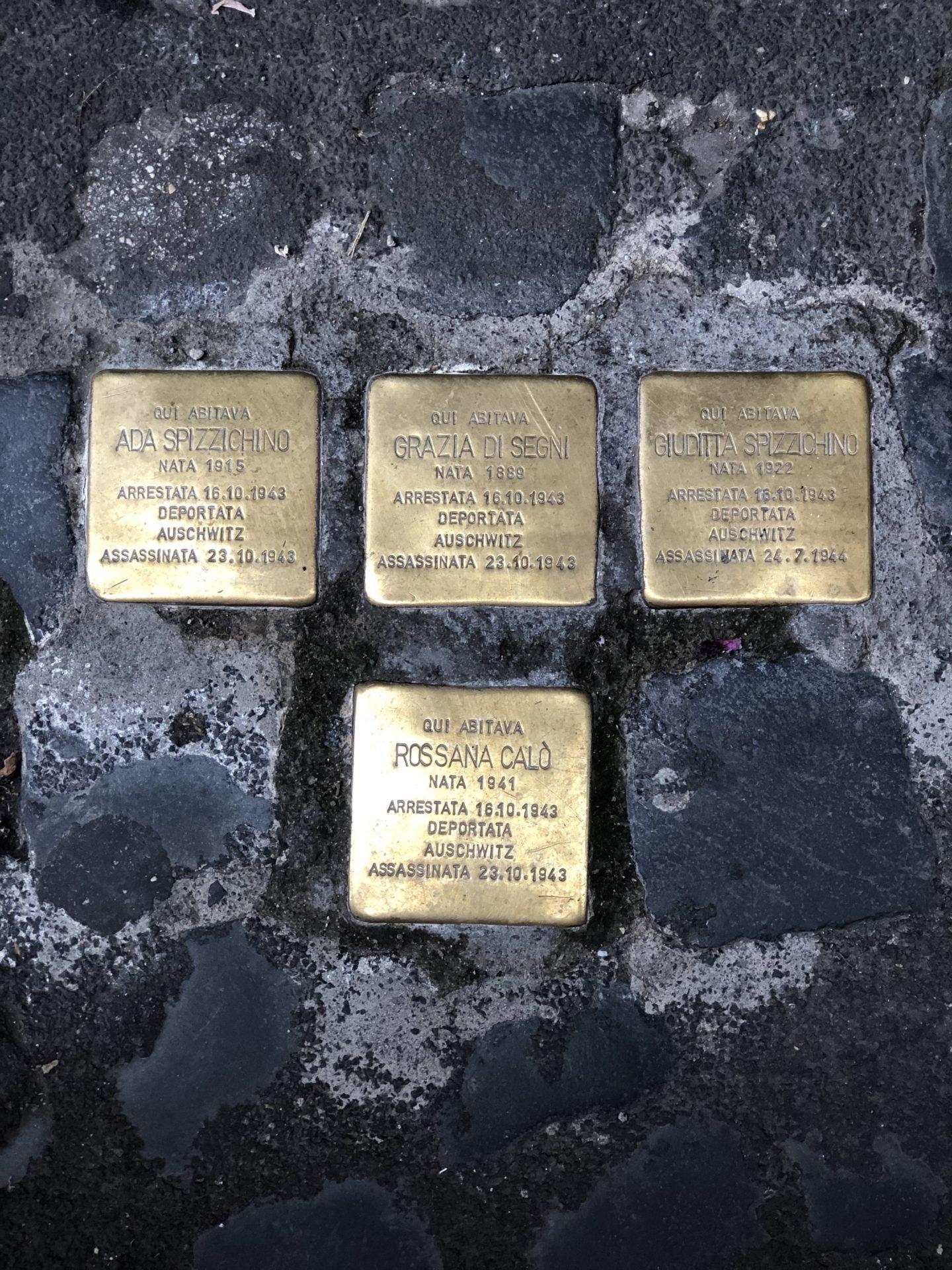 Stumbling stones in the Jewish Ghetto of Rome