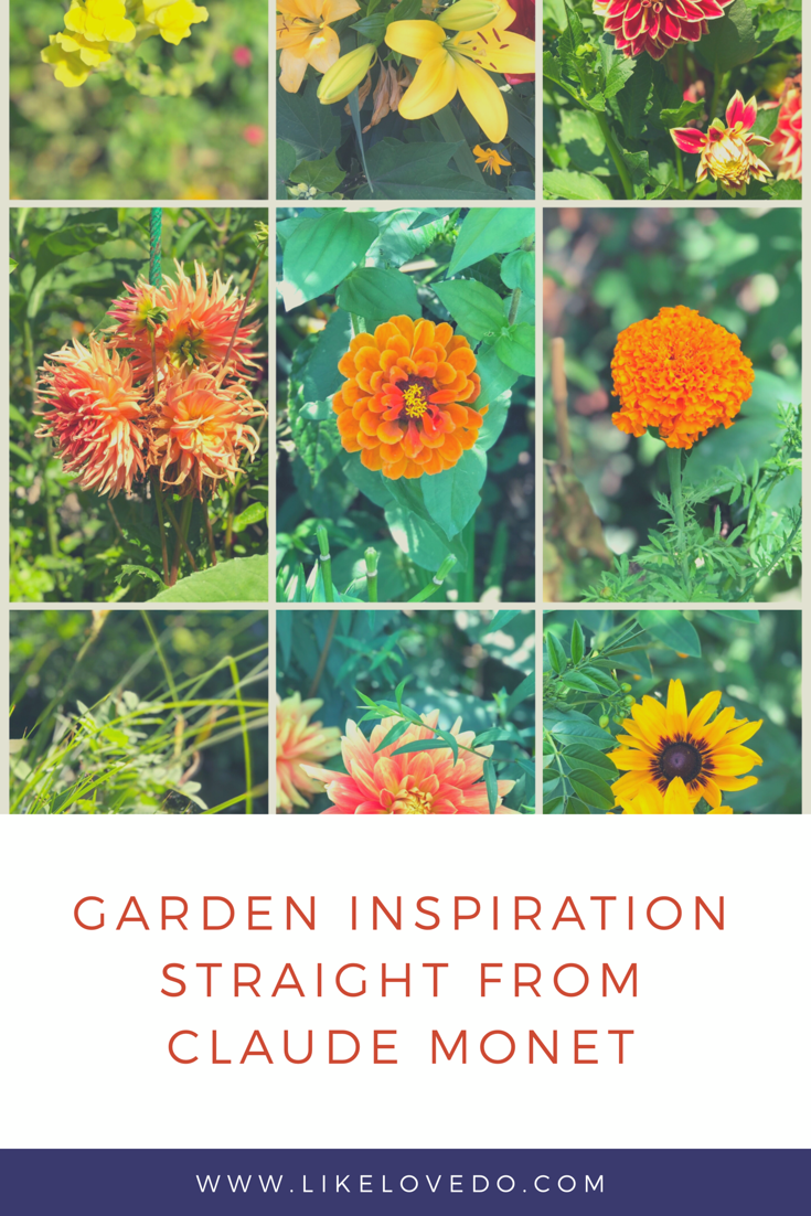 Garden inspiration from the gardens of Claude Monet in France. Orange and yellow flowers in beds in july