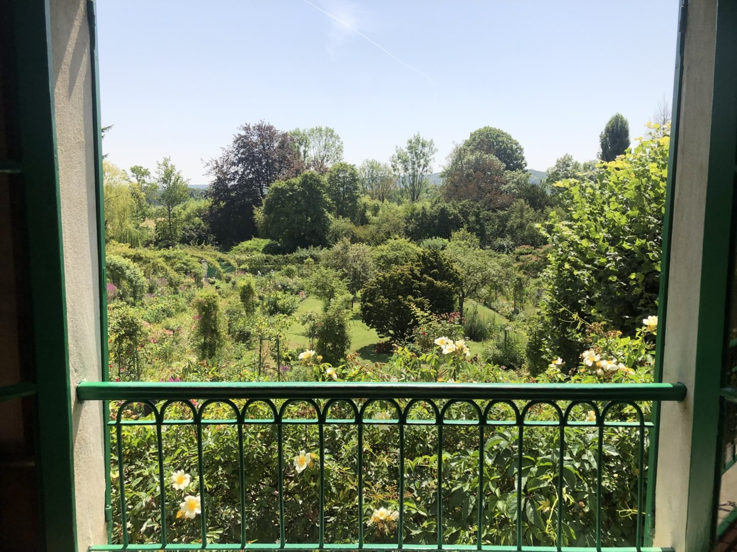 The view from Claude Monets bedroom over the gardens of Giverny