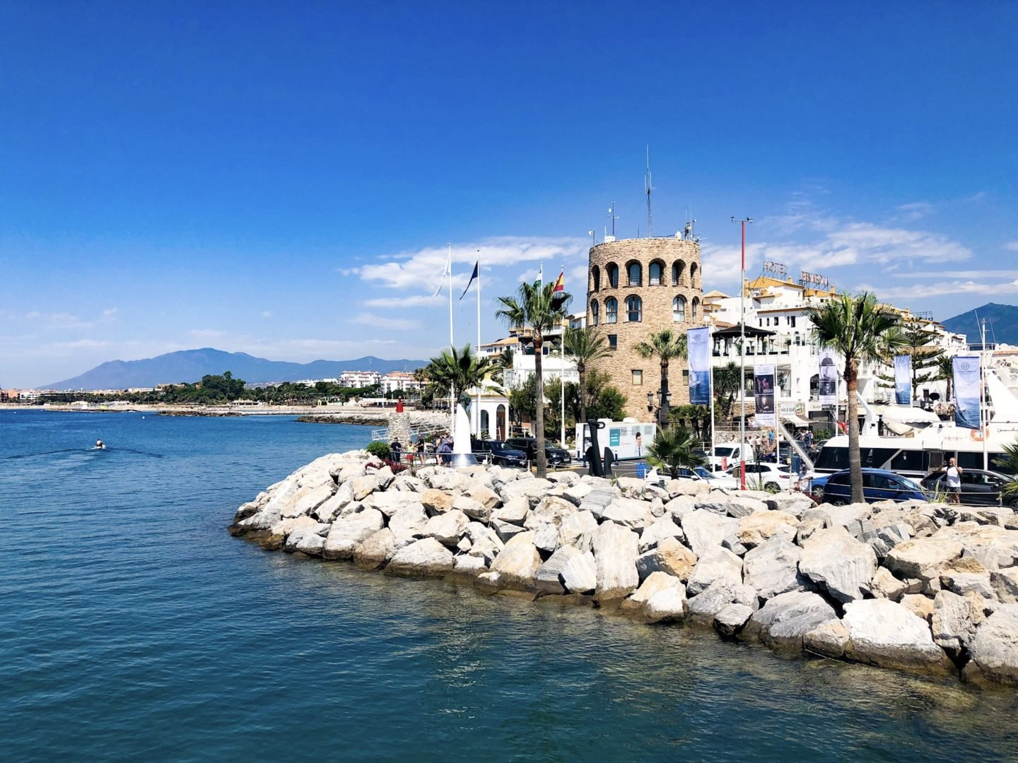 Puerto Banus overlooking Pangea nightclub restaurants and view of the beach
