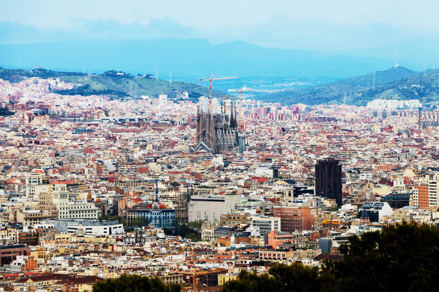 Aerial view of Barcelona from above