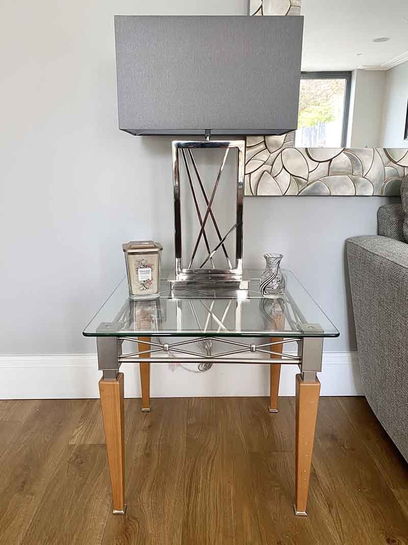 Grey table lamp in side table