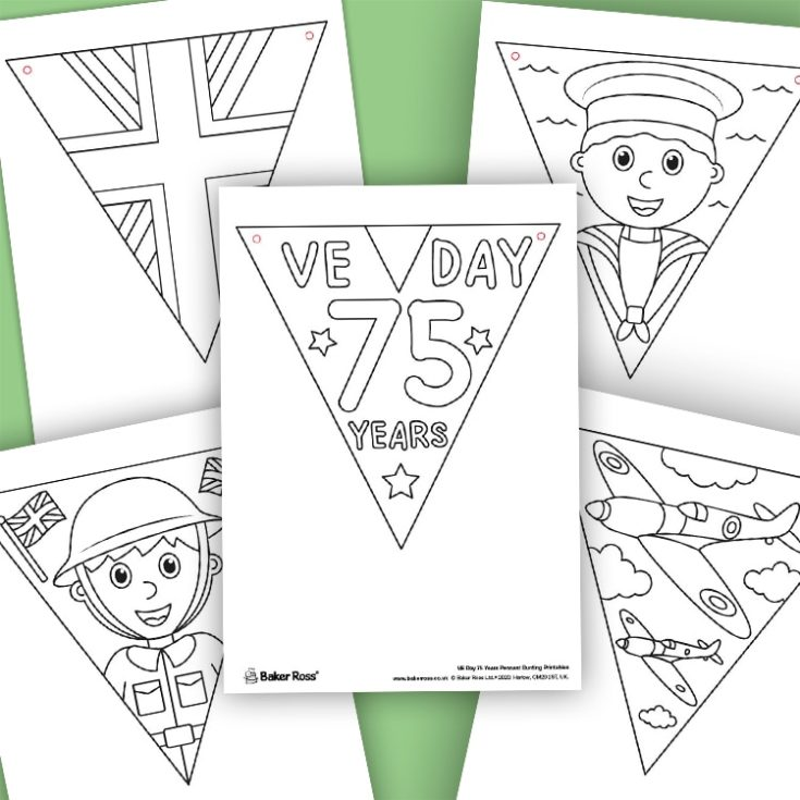 VE Day Anniversary Colour-in Bunting