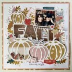 Free fall scrapbooking cut file. Pink and orange pumpkin scrapbook page