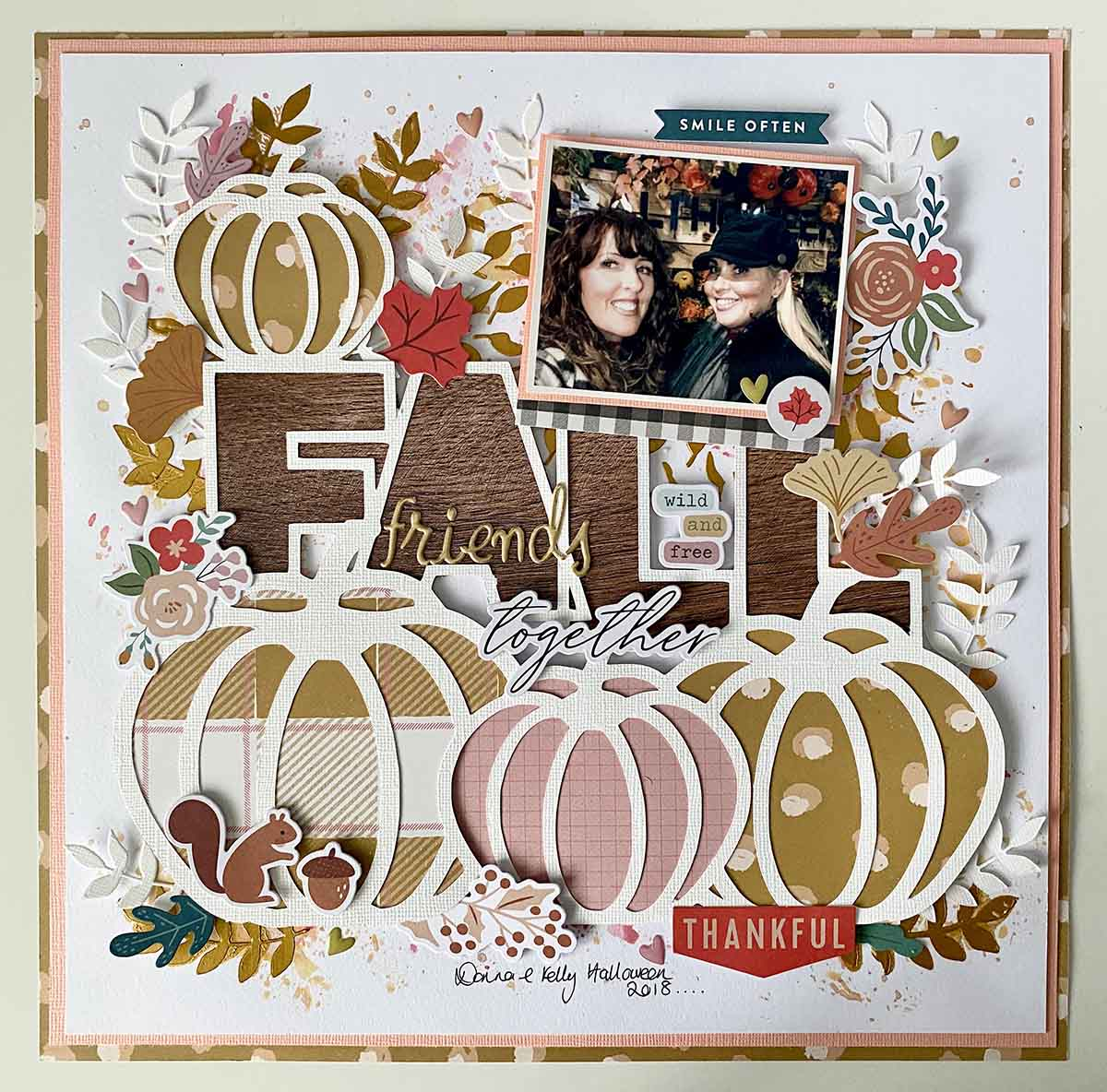 Free fall scrapbooking cytoplasms file. Pink and orange pumpkin scrapbook page