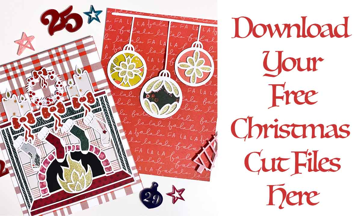 Free Christmas scrapbooking cut files fireplace and bauble SVG for scrapbooking download
