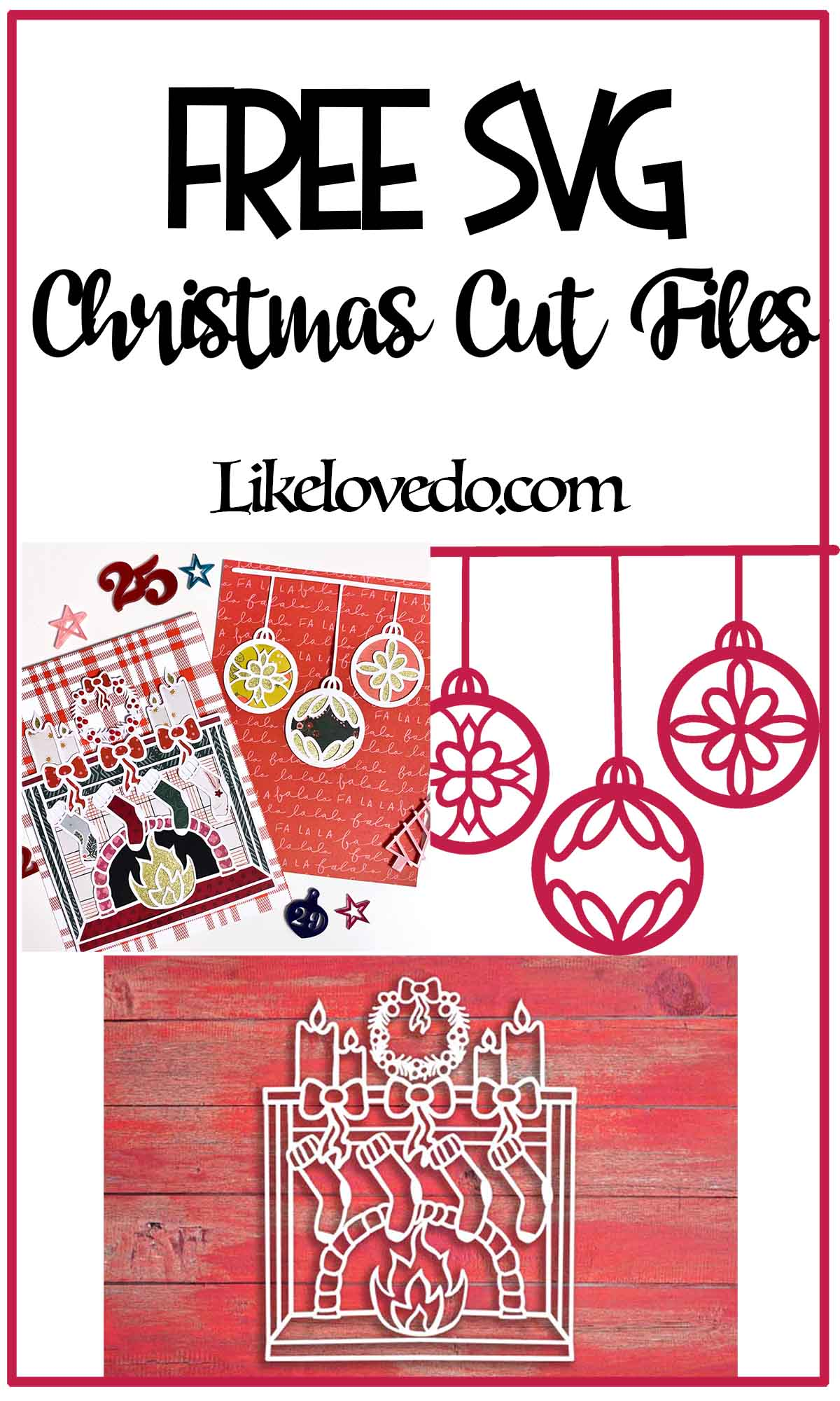 Free Christmas scrapbooking cut files fireplace and bauble SVG for scrapbooking