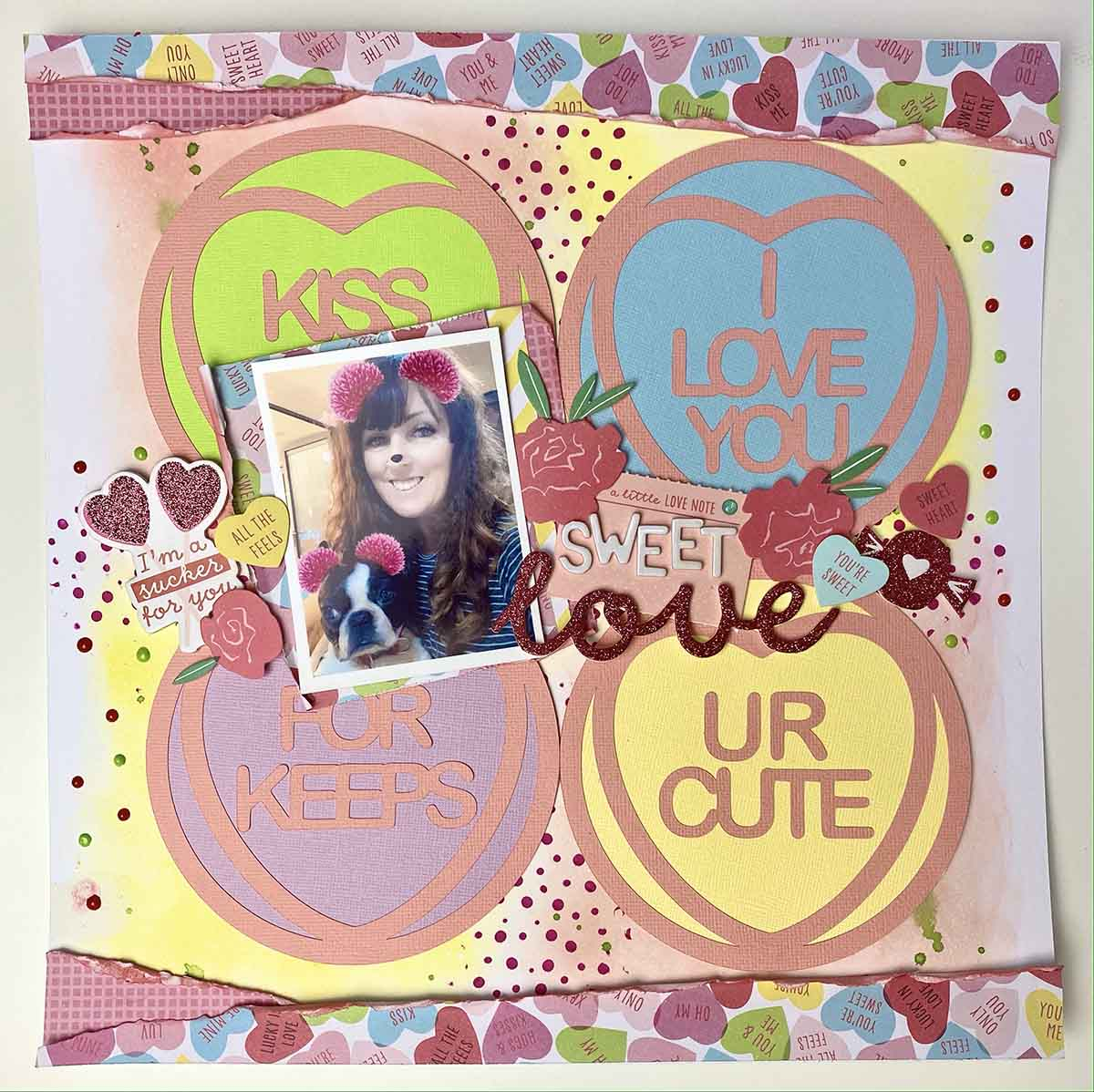 Love hearts scrapbooking page free valentine love heart cut file