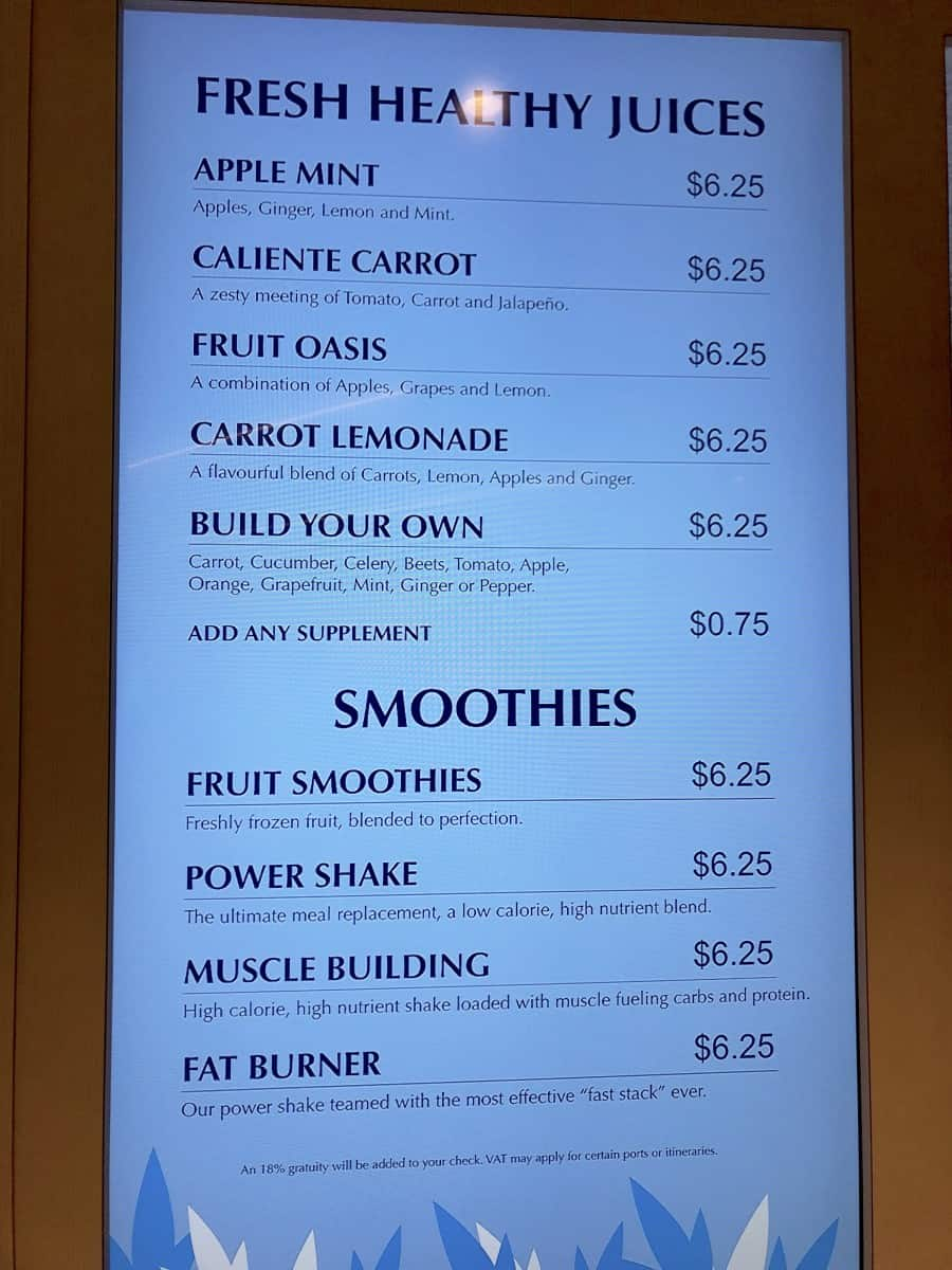 Vitality Bar smoothie cocktails and drinks menu onboard Royal Caribbean