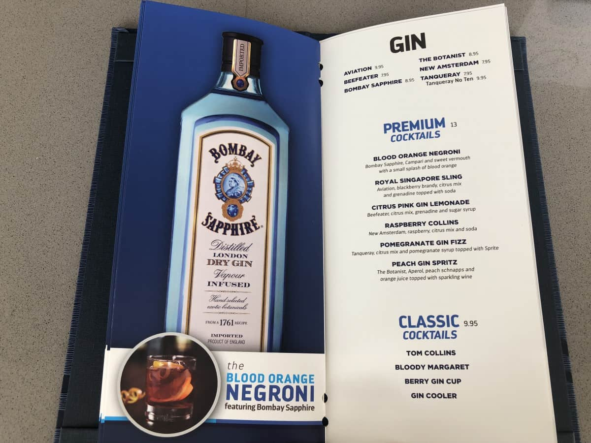 These Royal Caribbean pool bar drink menus can be found at all of the pool bars. Gin