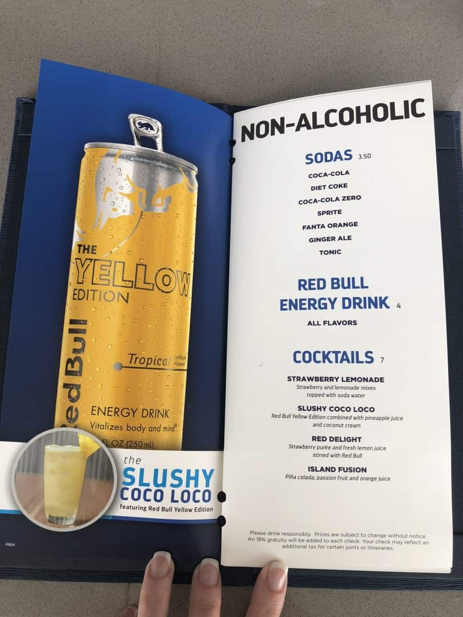 These Royal Caribbean pool bar drink menus can be found at all of the pool bars. non alcoholic cocktail menu