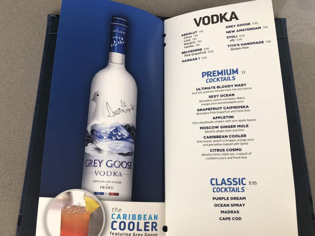 These Royal Caribbean pool bar drink menus can be found at all of the pool bars. Vodka menu