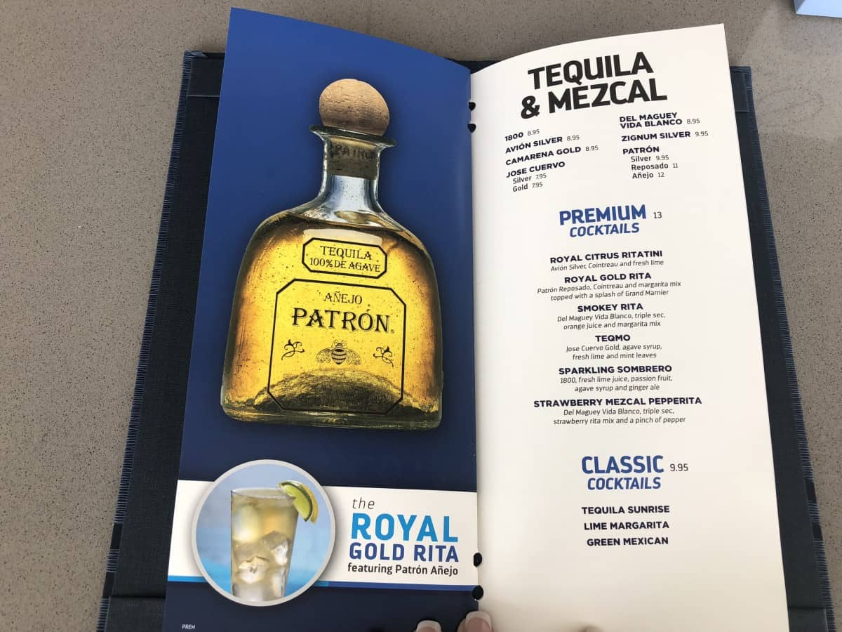 These Royal Caribbean pool bar drink menus can be found at all of the pool bars. Tequila menu
