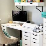 Desk with silhouette cameo on. Ikeas desk and grey room