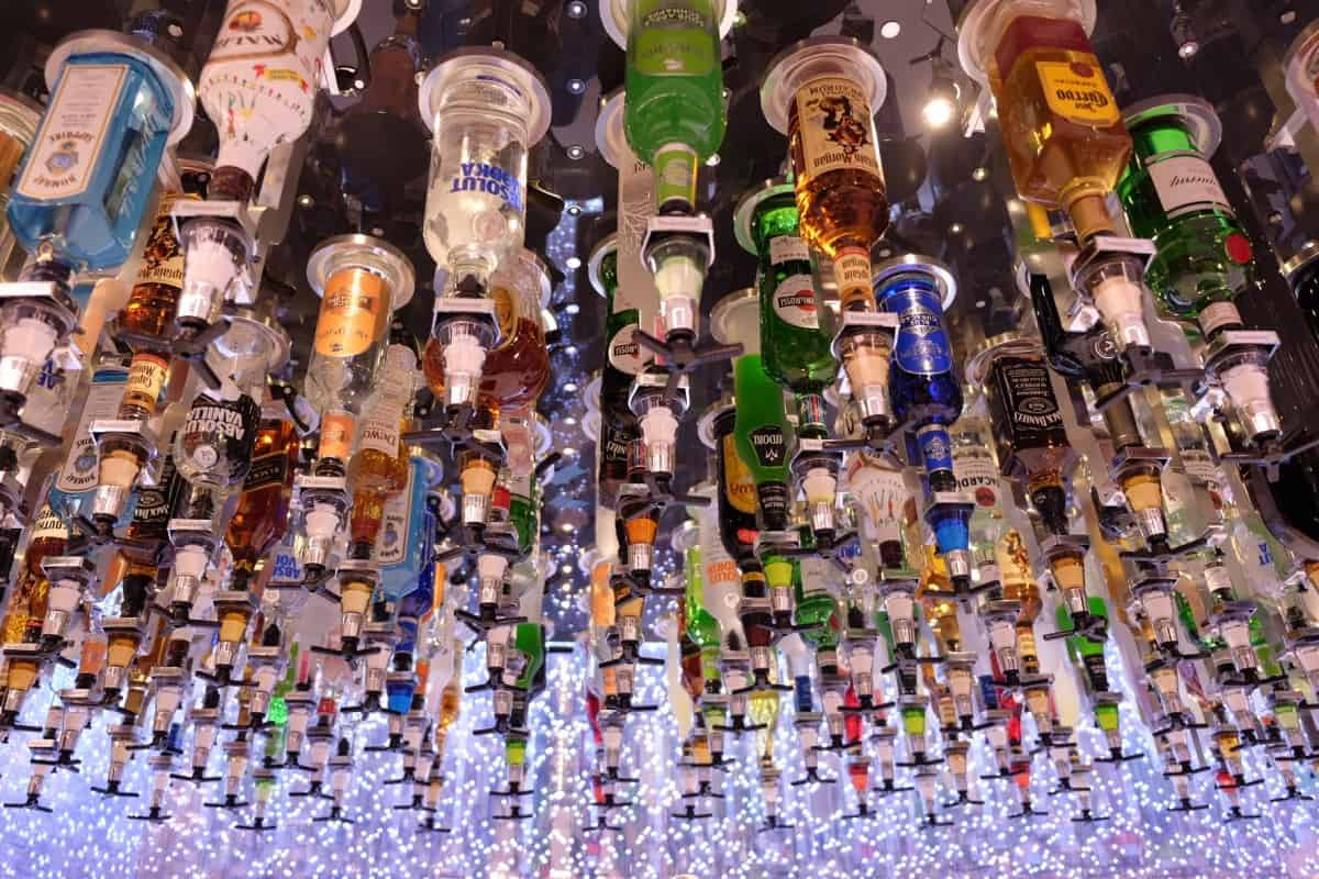 Royal Caribbean Bionic Bar bottles of drink